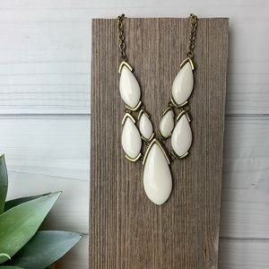 Antique Brass White stone Necklace reversible